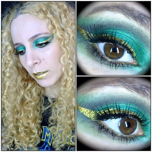 http://michtymaxx.blogspot.com.au/2013/12/tutorial-horny-loki-inspired-makeup.html  This deviously delightful makeup is inspired by the mischievous god Loki from the movie Thor 2.  I used the colours that are in Loki's costume including some dark greens from the Sedona Lace 88 matte palette, along with Sugarpill Midori & Lumi on the lid for dimension, as well as Urban Decay Darkhorse and Inglot 101R through the crease for the brown leather details he sports.