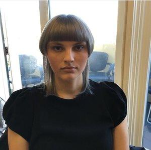 Nude look plus light grey smokey eye for Vidal Sassoon Academy model