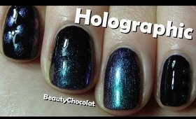 3 Easy holographic nail art designs ♥ Holographic BPS polish review