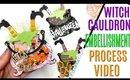 Witch Cauldron Process video, DIY Halloween Embellishments, Handmade Halloween Paper Embellishments