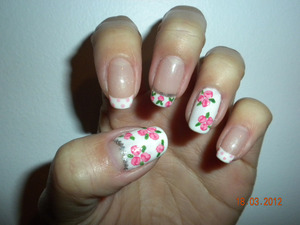 French manicure base, with floral patters, Left hand