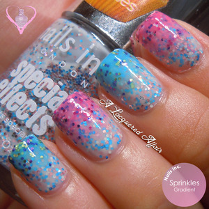 An glitter gradient Easter mani using Nails Inc. Sprinkles - Pudding Lane, Sweets Way and Pudding Lane. More swatches, designs and review on: http://www.alacqueredaffair.com/Easter-2013-feat-Nails-Inc-Sprinkles-28961310