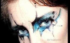 Gothic cyber blue and black MakeUp