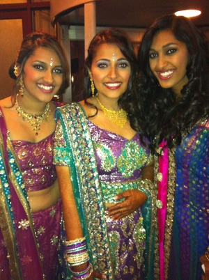 The bride (center) and her sisters