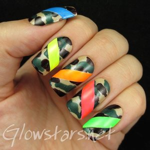 Read the blog post at http://glowstars.net/lacquer-obsession/2014/09/neon-stripes-and-camo/