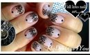 Lace Nail Art With Sheer Polish | Black Lace Short Nails ♥