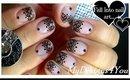 Lace Nail Art With Sheer Polish | Black Lace Short Nails ♥