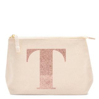 Rose Gold Glitter Initial Makeup Bag Letter T