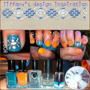 New Tiffany's design inspiration. I really wanted to try my new Nabi polishes so that ultimately was the reason for the color selections! If you like my designs follow me and add me at https://www.facebook.com/Ashesnailart
