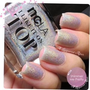 Swatch of NCLA Shimmer Me Pretty holographic topcoat, in 4 coats.