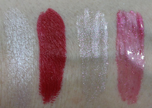 MAC Glitter and Ice Lipstick and Dazzleglass Swatches
