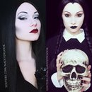 Morticia and Wednesday Addams