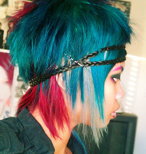 This hair was so fun~  I used Paul Mitchell 10A for the Silver, Adore Semi-Permanent Hair Color Aquamarine and Raspberry Twst.