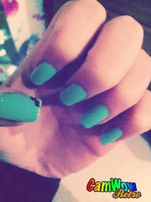 Love painting my nails :D Gone for turquoise and moustaches today :D