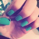 Turquoise nails with moustache :D