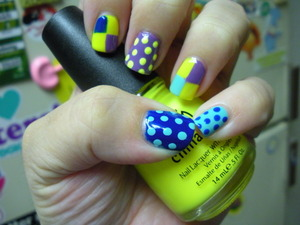 China Glaze Yellow Polka Dot Bikini, Spontaneous, Color Club 220 Volts,and Nicole My Lifesaver