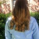 Brown to golden blonde ombré curls long hair