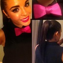 Hello pink bow tie & sleek pony tail.