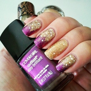 Covergirl Outlast Grapevine, Hello Kitty Gold Star, ELF Golden Goddess http://www.beautybykrystal.com/2012/11/glitzy-grape-gold-notd.html