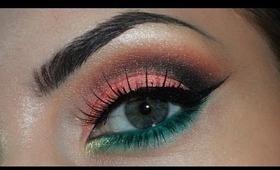 Pink, brown, green makeup