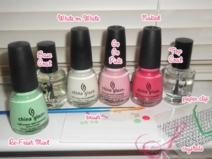 Everything used to make the gingham bow nails.