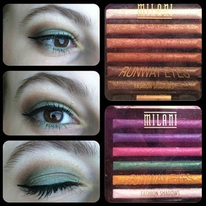 Brown and green eyeshadow using the milani runway eyes in 01 Designer Browns and 10 Haute Couture