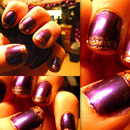 Purple Nails with Gold Crackle Tips
