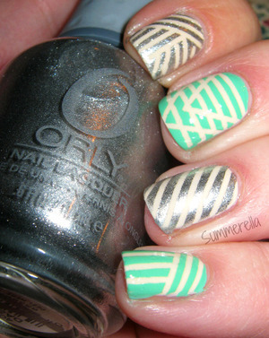Striping tape mani for more details visit my blog http://summerella31.blogspot.com/2013/04/tribal-striping-tape.html