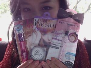 Suki desu! Long Mascara, Cream Eye Shadow in Rainbow Crystal, and Liquid Eyeliner in Deep Black.