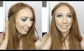 Blue Eyes & Nude Lips Makeup Tutorial!
