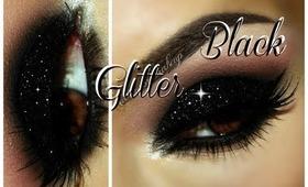 Smokey Eye with Black Glitter