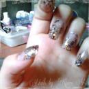 Brown Shimmer Nails with Pink Cheetah Print