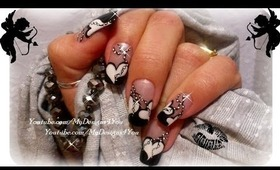 MONOCHROME VALENTINES NAIL ART, HOW TO BEADS ON A STRING - ♥ MyDesigns4You ♥