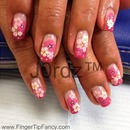 Pink Sticker Flower Nails