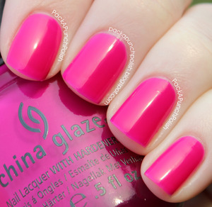 Under The Boardwalk by China Glaze. I have the neon pink jelly version. There are two different versions floating around. This is 2 coats, without top coat. It's part of the Summer Neons Collection.  Full Blog Post: http://packapunchpolish.blogspot.com/2012/12/china-glaze-under-boardwalk.html