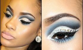Dramatic Blue & Silver Winged Cut Crease with Glitter & Rhinestones