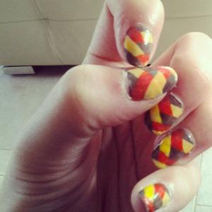 Braided nails - yellow, orange, brown