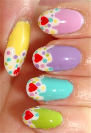 Nail tutorial & more photos here: http://www.swatchandlearn.com/nail-art-tutorial-cupcake-nails/