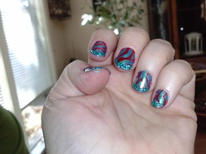 blue on red with teal glitter