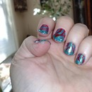 glitter tips with red and blue