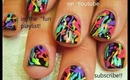 neon SPLATTER paint nail art on black nails robin moses design tutorial 753