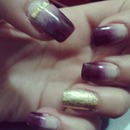 degradé nailz and gold foil