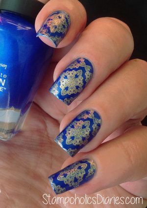 http://stampoholicsdiaries.com/2015/01/13/sally-hansen-845-batbano-blue-essie-good-as-gold-and-edm05/