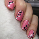 Pink dotting tool manicure