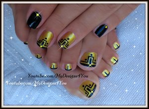 Roman Goddess Toenail Art | Gold and Black Pedicure https://www.youtube.com/watch?v=5lV1CDJwzwo