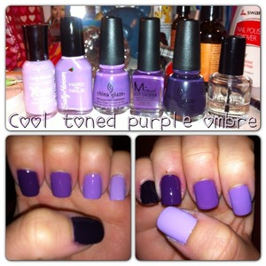 First ombré attempt for myself. I obviously have a thing for bluish based purple creams. Lol