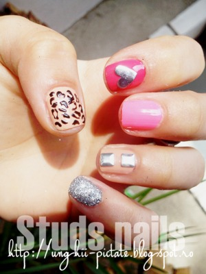 nails with studs, square and heart.