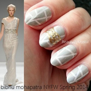 List of products used and technique on my blog: http://www.beautybykrystal.com/2013/09/nyfw-inspired-nails-bibhu-mohapatra.html