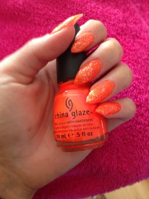 Knockout orange neon with Nina holographic topcoat.