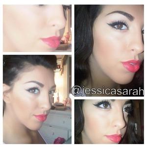makeup eyes lips cateye cat eye winged eyeliner coral lips